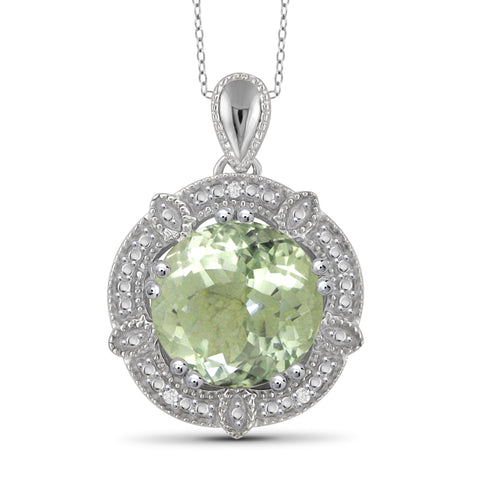 JewelonFire 3 1/2 Carat T.G.W. Green Amethyst And White Diamond Accent Sterling Silver Pendant - Assorted Colors