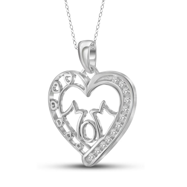 JewelersClub 1/10 Carat T.W. White Diamond Sterling Silver Mom Heart Pendant