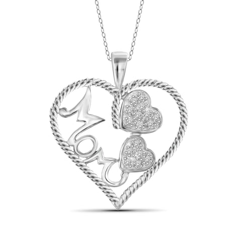 JewelonFire 1/7 Carat T.W. White Diamond Sterling Silver Mother Heart Pendant - Assorted Colors