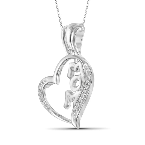 JewelersClub 1/20 Carat T.W. White Diamond Sterling Silver Mom Heart Pendant