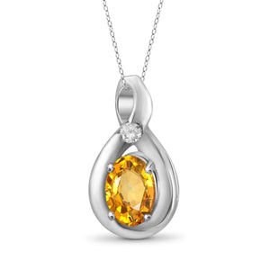 JewelersClub 1/2 Carat T.G.W. Citrine and White Diamond Accent Sterling Silver Pendant - Assorted Colors