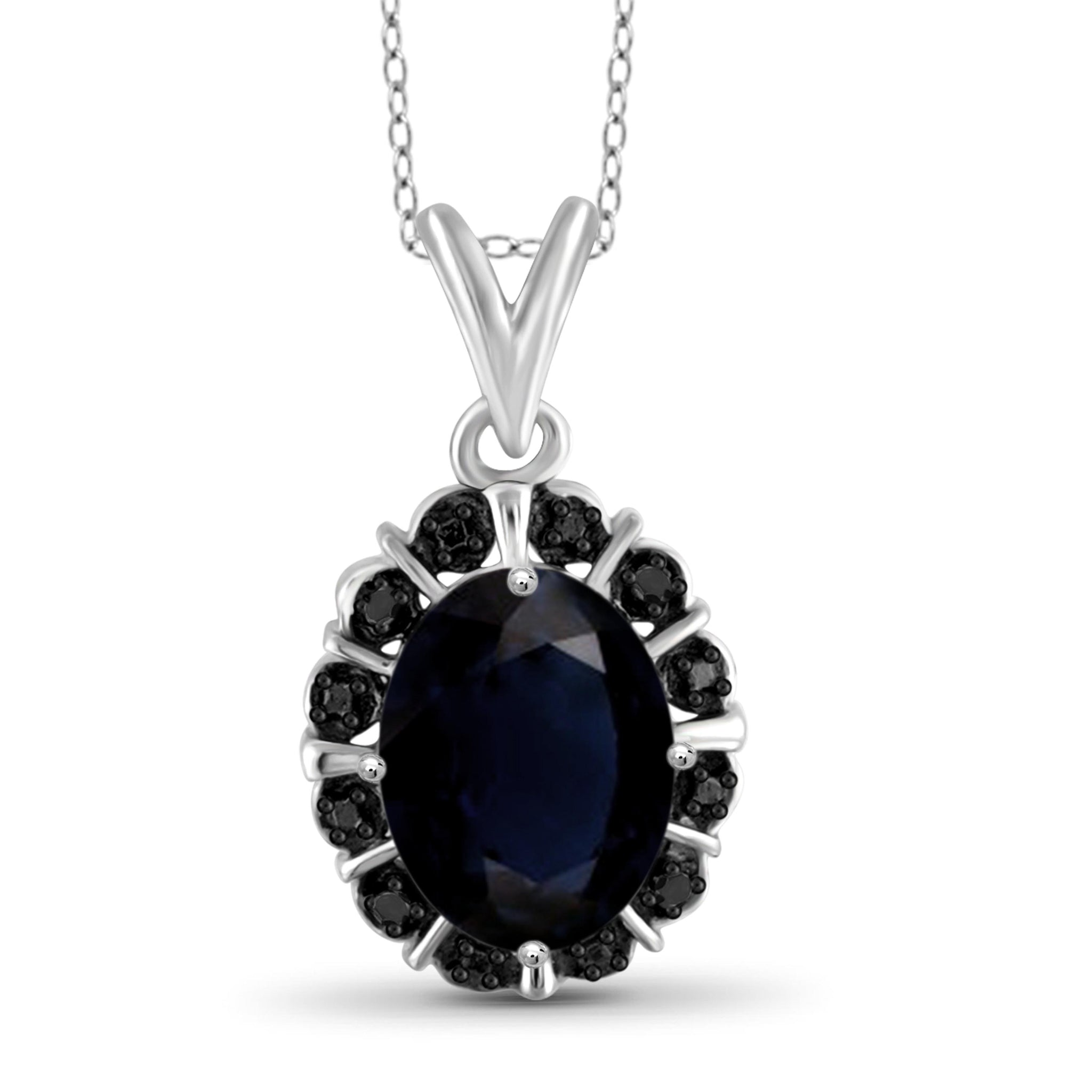 JewelonFire 1.90 Carat T.G.W. Sapphire and Black Diamond Accent Sterling Silver Fashion Pendant - Assorted Colors