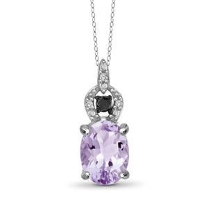 JewelersClub 1.00 Carat T.G.W. Pink Amethyst And 1/20 Carat T.W. Black And White Diamond Sterling Silver Pendant - Assorted Colors