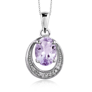 JewelersClub 1.00 Carat T.G.W. Pink Amethyst And White Diamond Accent Sterling Silver Pendant - Assorted Colors