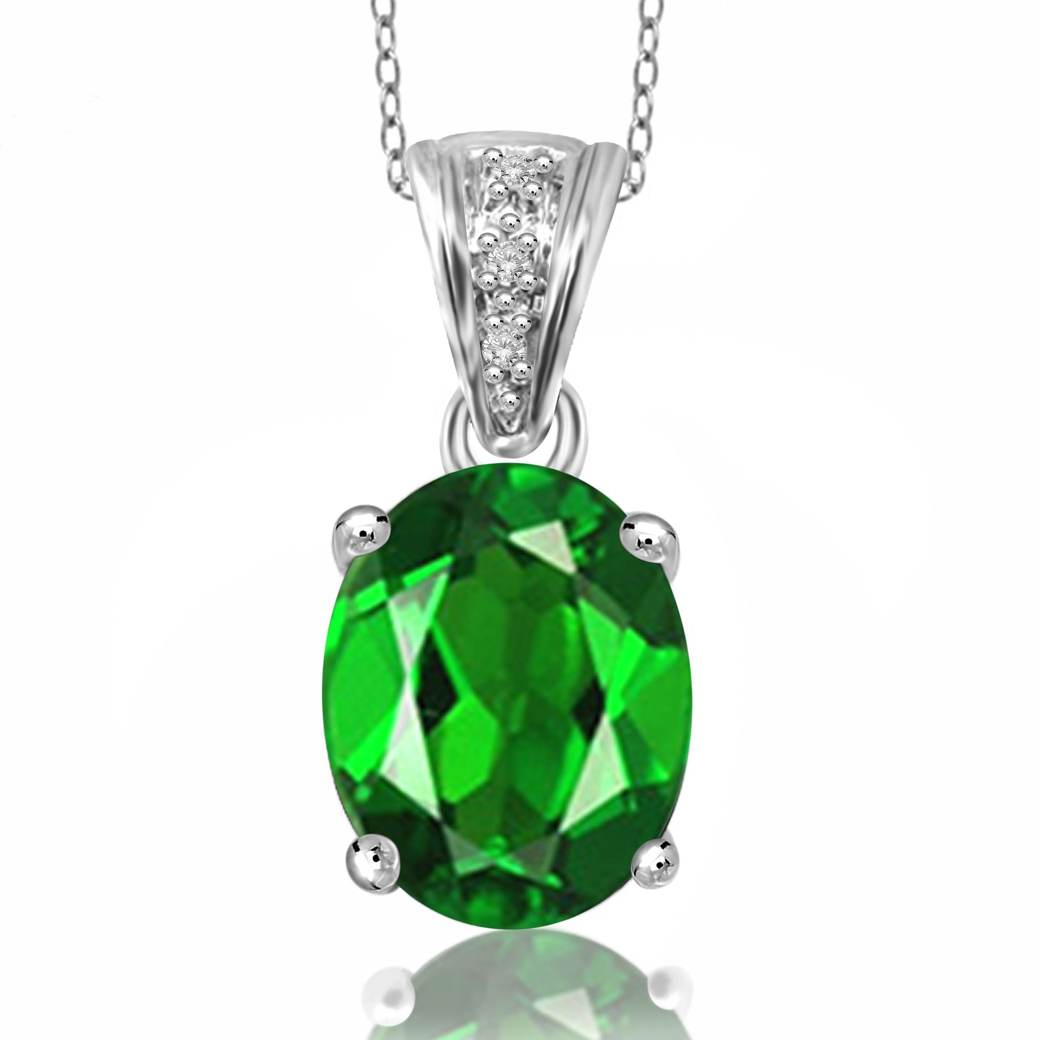 JewelonFire 1.50 Carat T.G.W. Chrome Diopside and White Diamond Accent Sterling Silver Pendant - Assorted Colors