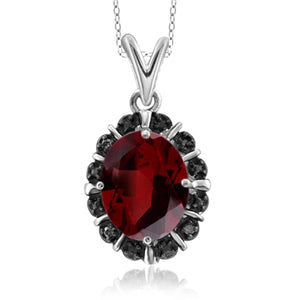 JewelonFire 2.15 Carat T.G.W. Garnet and Black Diamond Accent Sterling Silver Pendant - Assorted Colors