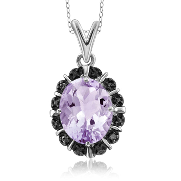 JewelonFire 1.60 Carat T.G.W. Pink Amethyst and Black Diamond Accent Sterling Silver Pendant - Assorted Colors