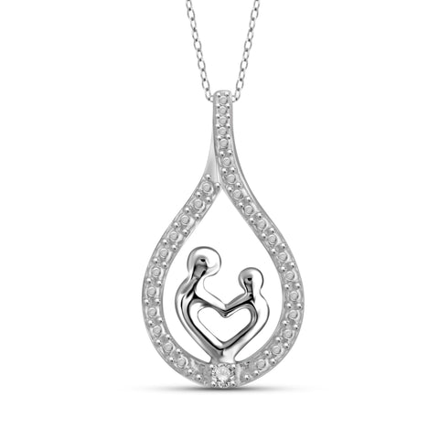JewelonFire White Diamond Accent Sterling Silver Mother and Child Pendant - Assorted Colors