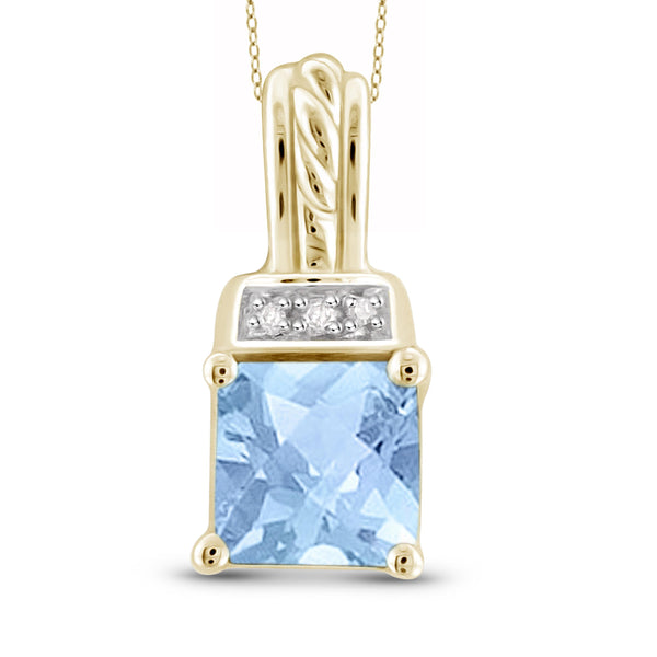 JewelonFire 1 1/7 Carat T.G.W. Sky Blue Topaz And White Diamond Accent Sterling Silver Pendant - Assorted Colors