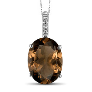 JewelonFire 13 3/4 Carat T.G.W. Smoky Quartz and White Diamond Accent Sterling Silver Pendant - Assorted Colors