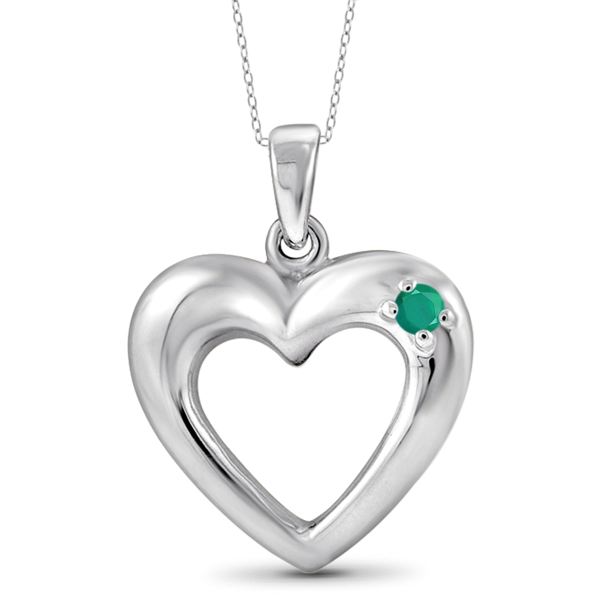 JewelonFire Emerald Accent Sterling Silver Heart Pendant - Assorted Colors