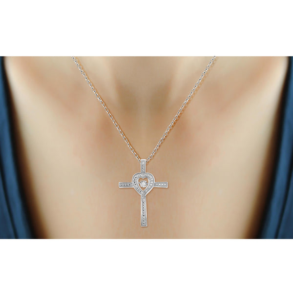 Diamond in the Sky White Diamond Accent Sterling Silver Cross Pendant