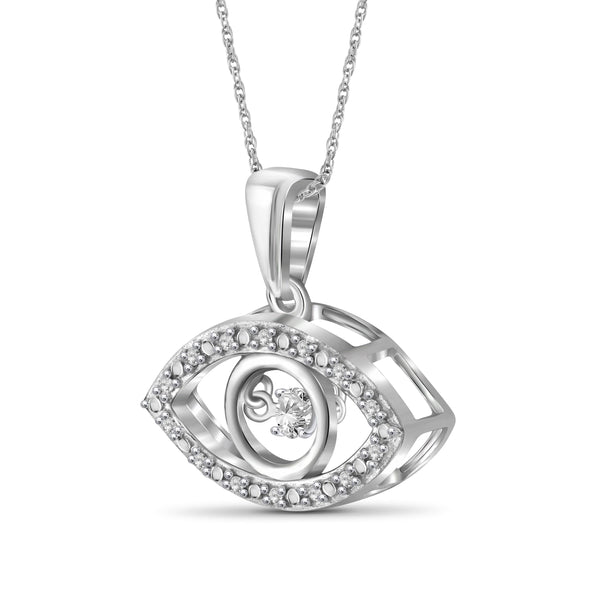 Diamond in the Sky 1/7 Carat T.W. White Diamond Sterling Silver Evil Eye Pendant
