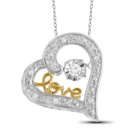 Diamond in the Sky White Diamond Accent Two-tone Sterling Silver Heart Pendant