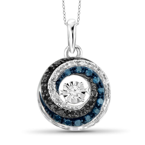 Diamond in the Sky 1/7 Carat T.W. Multi Color Diamond Sterling Silver Pendant