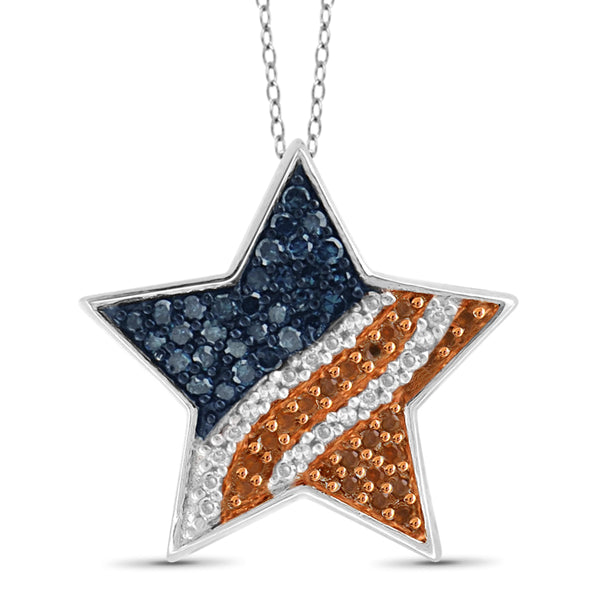 JewelonFire 1/4 Carat T.W. Multi Color Diamond Sterling Silver American Flag Star Pendant