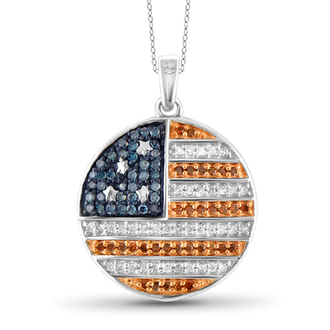 JewelersClub 1/3 Carat T.W. Multi Color Diamond Sterling Silver American Flag Round Pendant