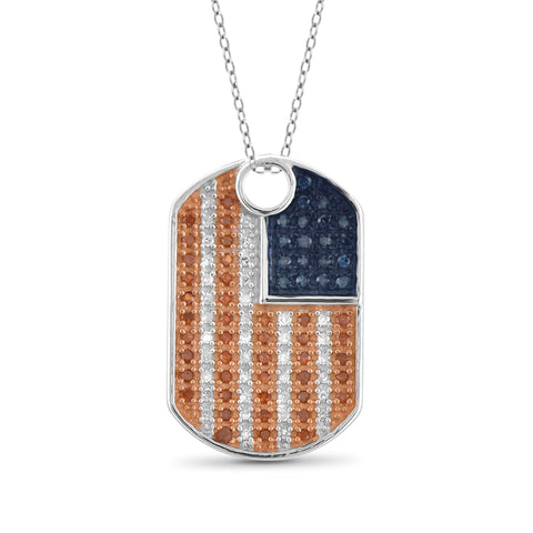 JewelersClub 1/4 Carat T.W. Multi Color Diamond Sterling Silver American Flag Pendant