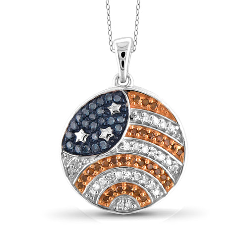 JewelersClub 1/4 Carat T.W. Multi Color Diamond Sterling Silver American Flag Round Pendant
