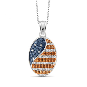JewelersClub 1/4 Carat T.W. Multi Color Diamond Sterling Silver American Flag Oval Shape Pendant