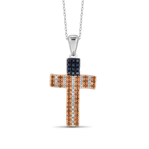 JewelersClub 1/4 Carat T.W. Multi Color Diamond Sterling Silver American Flag Cross Pendant