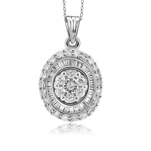 Jewelnova 1/2 Carat T.W. White Diamond 10K Gold Oval Pendant - Assorted Colors