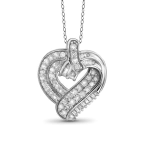 Jewelnova 1.00 Carat T.W. White Diamond 10K Gold Heart Pendant - Assorted Colors