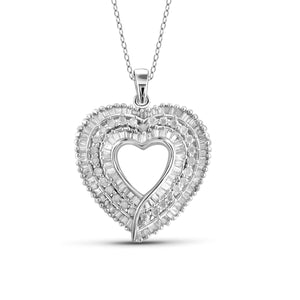 Jewelnova 1.00 Carat T.W, White Diamond 10K Gold Open Heart Pendant - Assorted Colors