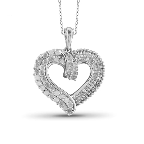 Jewelnova 1.00 Carat T.W. White Diamond 10K Gold Open Heart Pendant - Assorted Colors
