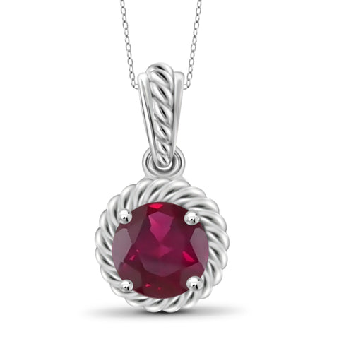 JewelersClub 1 1/5 Carat T.G.W. Ruby Sterling Silver Halo Pendant - Assorted Colors