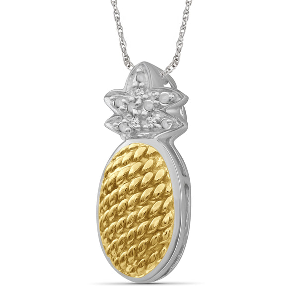 JewelonFire Accent White Diamond Two-tone Silver Pineapple Pendant