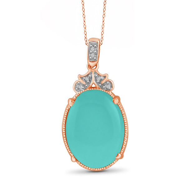 JewelersClub 9 3/4 Carat T.G.W. Chalcedony And White Diamond Accent Sterling Silver Fashion Pendant - Assorted Colors