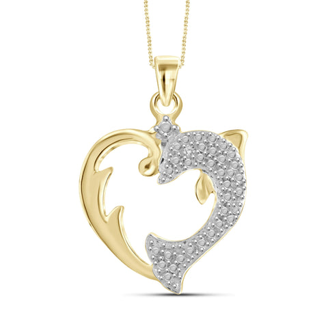 JewelonFire White Diamond Accent 14kt Gold Plated Brass Dolphin Heart Pendant
