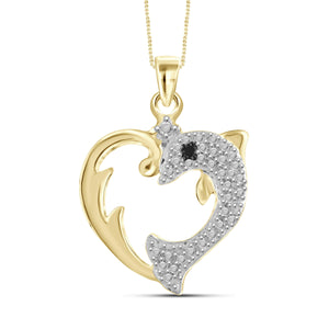 JewelonFire Black Diamond Accent 14kt Gold Plated Brass Dolphin Heart Pendant