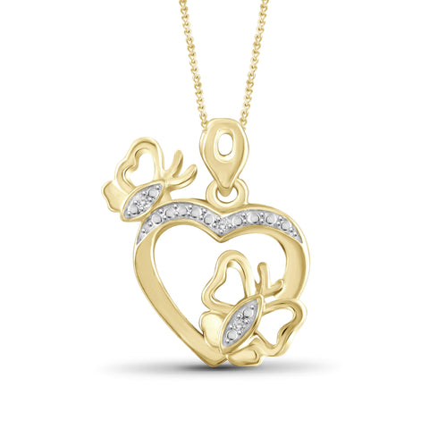 JewelonFire White Diamond Accent 14kt Gold Plated Brass Butterfly Heart Pendant