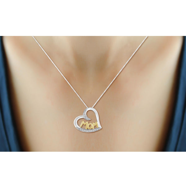 JewelonFire White Diamond Accent 14kt Gold Plated Brass Two-Tone Heart Pendant
