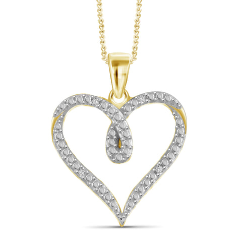 JewelonFire White Diamond Accent 14kt Gold Plated Brass Heart Pendant