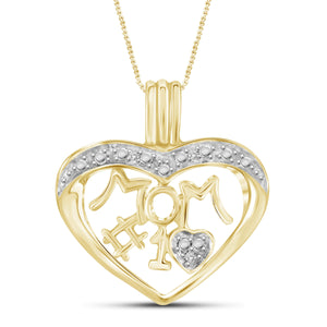 JewelonFire White Diamond Accent 14kt Gold Plated Brass Mom Heart Pendant