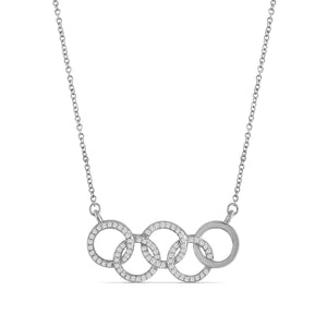 JewelersClub 1/4 Ctw White Diamond Sterling Silver Olympic Symbol Necklace