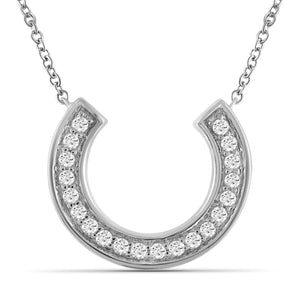 JewelonFire 1/5 Ctw White Diamond Sterling Silver Horseshoe Pendant - Assorted Colors
