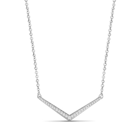 JewelersClub 1/4 Ctw White Diamond Sterling Silver V Shape Necklace - Assorted Colors