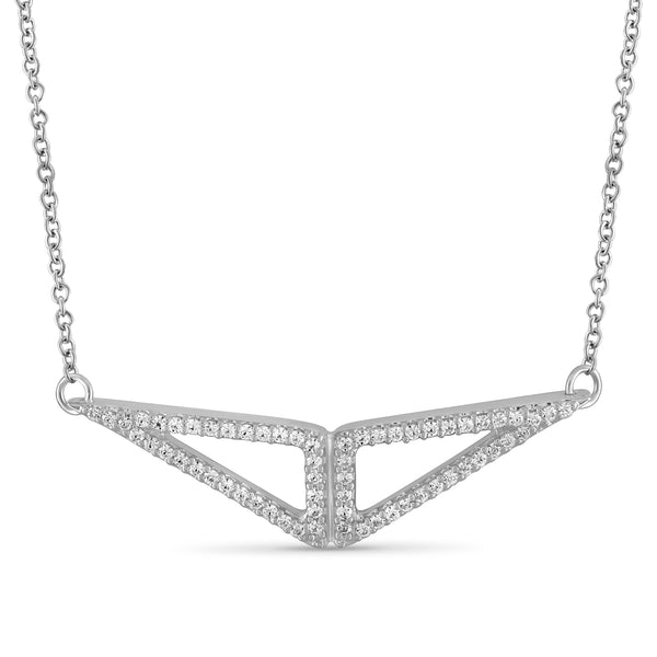 JewelonFire 1/5 Ctw White Diamond Triangle Pendant in Sterling Silver - Assorted Colors