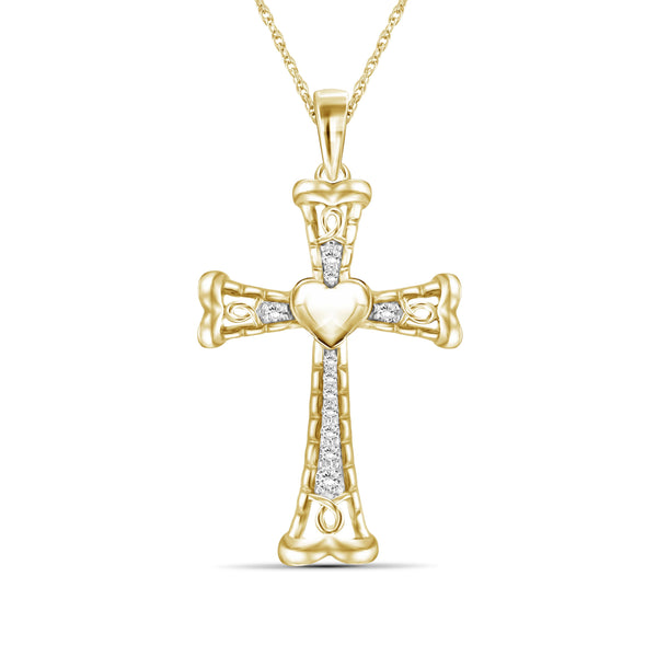 JewelersClub 1/4 Ctw White Diamond Heart Cross Pendant in Sterling Silver - Assorted Colors