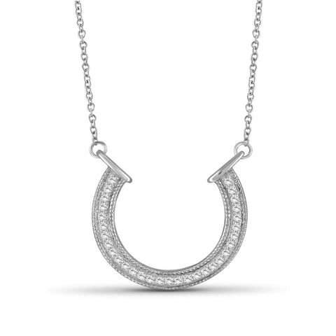 JewelersClub 1/4 Ctw White Diamond Sterling Silver Horseshoe Pendant