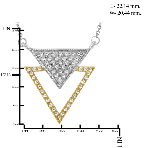 JewelonFire 1/4 Ctw White Diamond Two-Tone Sterling Silver Inverted Triangle Pendant