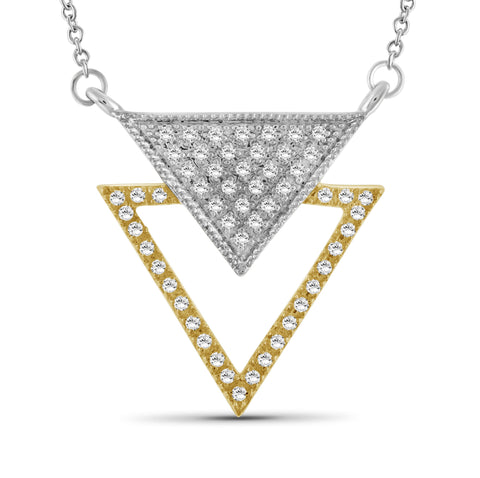 JewelersClub 1/4 Ctw White Diamond Two-Tone Sterling Silver Inverted Triangle Pendant