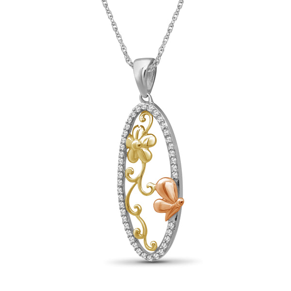 JewelonFire 1/5 Ctw White Diamond Tri-Tone Sterling Silver Butterfly Pendant
