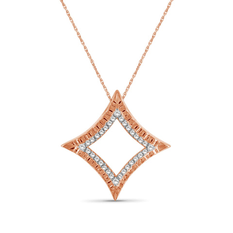 JewelersClub 1/4 Ctw White Diamond Rose Gold over Silver Star Pendant