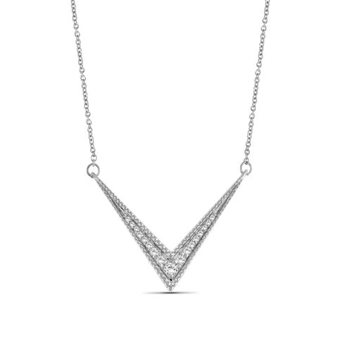 JewelersClub 1/5 Ctw White Diamond Sterling Silver V Shape Necklace - Assorted Colors