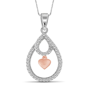 JewelonFire 1/5 Carat T.W. White Diamond Two Tone Silver Heart Pendant